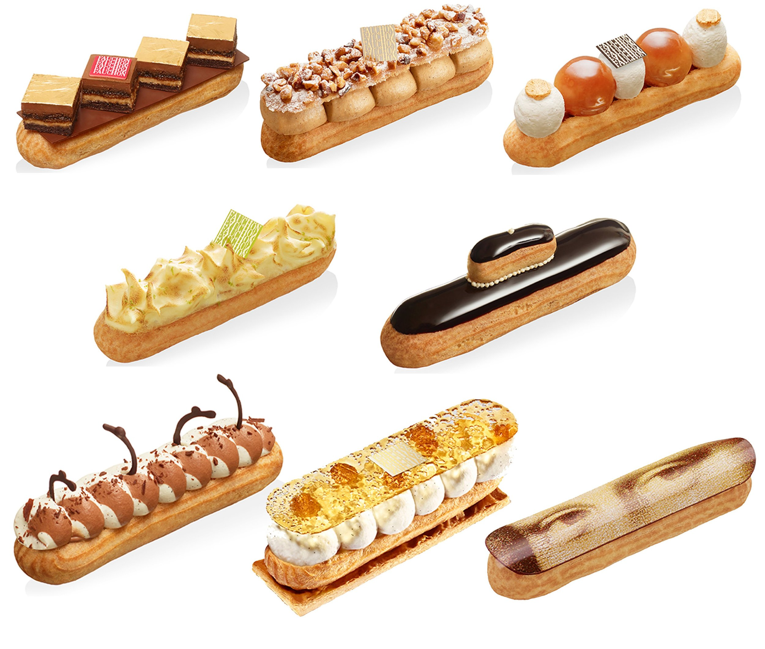 圖5. 2015 年的 Fauchon 閃電泡芙週,其中八款商品使用泡芙重現經典法式甜點如 réligieuse(修女泡芙)、St. Honoré(聖多諾黑泡芙)、Baba au Rhum(蘭姆巴巴)、tarte au citron méringuée(蛋白霜檸檬塔)、Opéra(歌劇院蛋糕)等。右下角便是 Adam 在 Fauchon 時期的代表作之一「éclair Joconde」蒙娜麗莎閃電泡芙。(圖片來源: Mon Pâtissier部落格 )