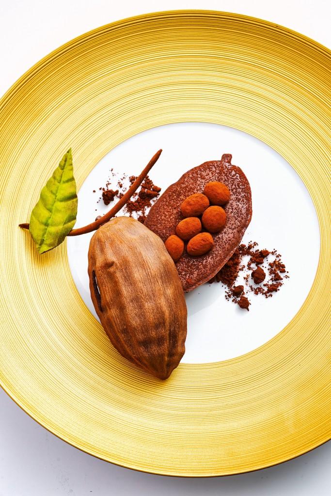 圖8. 巴黎五星級飯店  Le Bristol  前甜點主廚  Laurent Jeannin  的招牌甜點之一「Chocolat du Pérou」(秘魯巧克力)。他在盤子上用不同的甜點元素、口味與質地再現了巧克力豆的真實樣貌。注意盤子的選擇,不管是顏色還是設計都與甜點整體協調搭配、也完美地烘托了主題。(圖片來源: L'Express Styles )