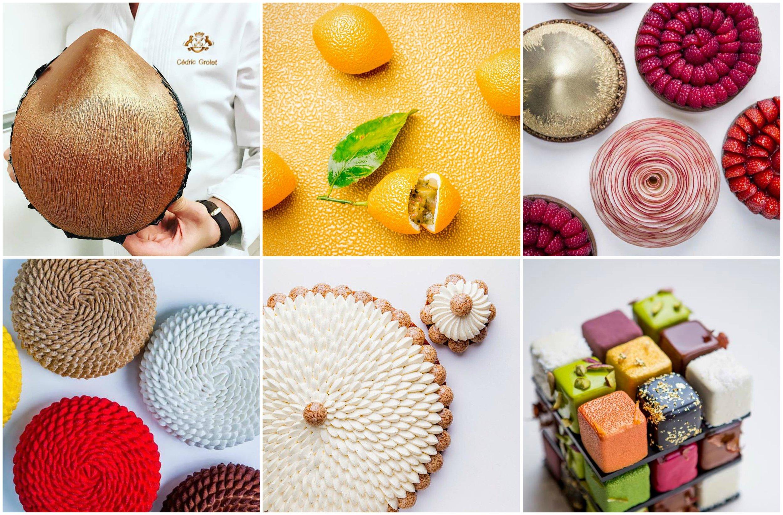 Cédric Grolet 的招牌作品。由左至右、先上排後下排分別為榛果、檸檬水果雕塑、水果塔、大型蛋糕、聖多諾黑與魔術方塊。 Photo|Cédric Grolet, Facebook
