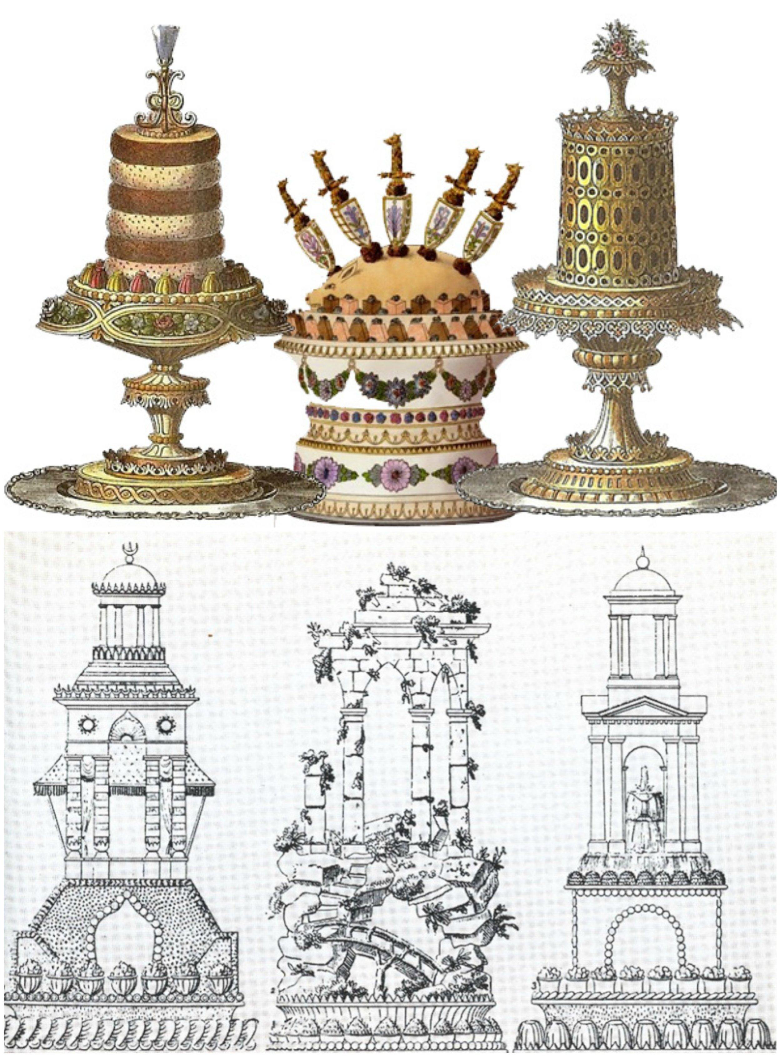 歷史上第一位明星主廚、同時也是法國高級料理與甜點之父的  Marie-Antoine Carême  的裝飾甜點與蛋糕設計圖,包括用糖工藝與其他甜點元素重現各種風格的建築作品。 Photo|上: Jane Austen Center ;下: 法國國家圖書館數位資料庫Gallica