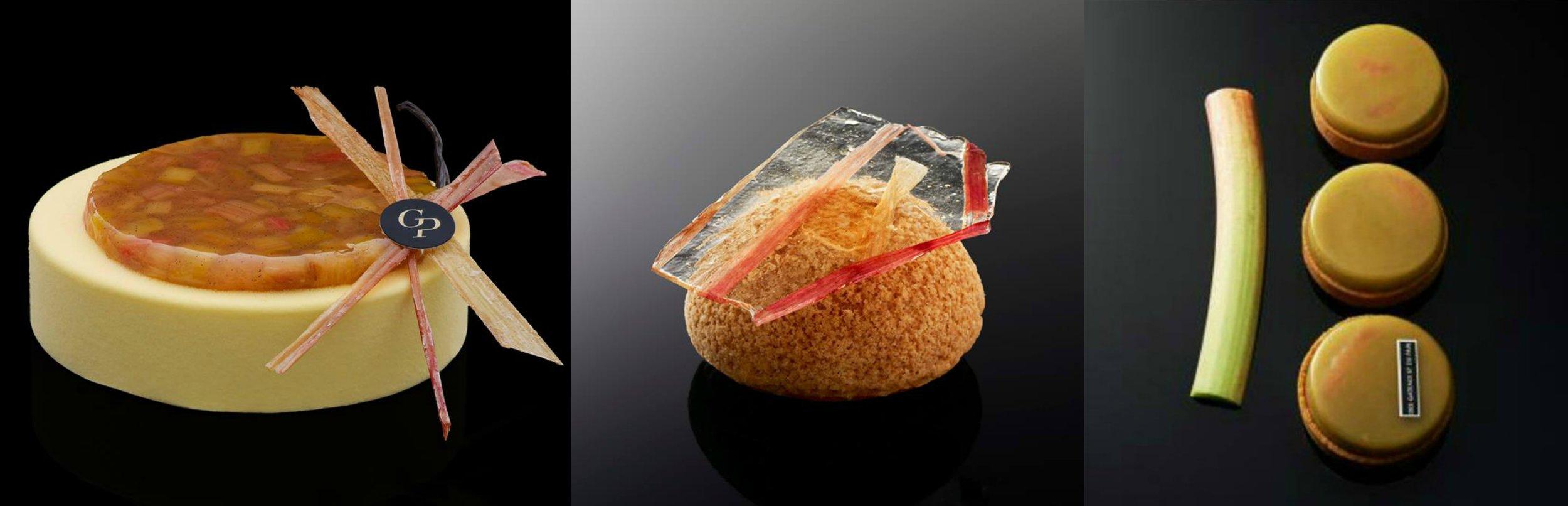 Claire Damon 以大黃為主題創作的甜點,由左至右分別為包括大黃蛋糕(Bâton de rhubarb)、 大黃泡芙(Chou rhubarb)大黃塔(Paradisi)。 Photo| @desgateauxetdupaincom ,Facebook