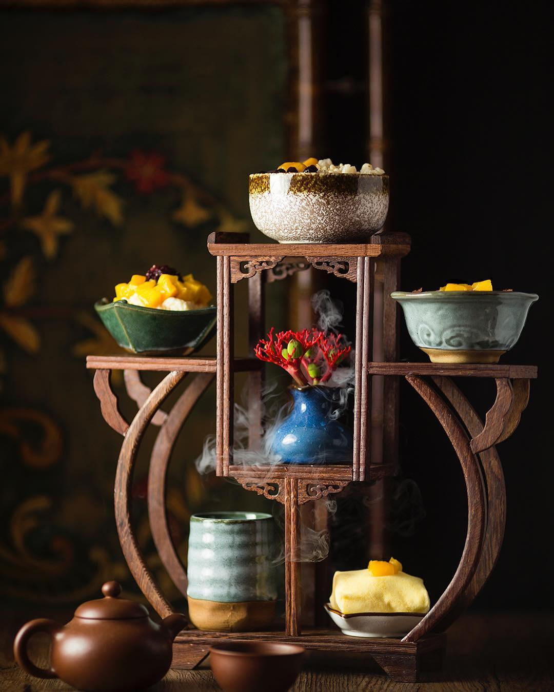 糖軒的「博古架」套餐,包含四到五種中式甜點與甜品。