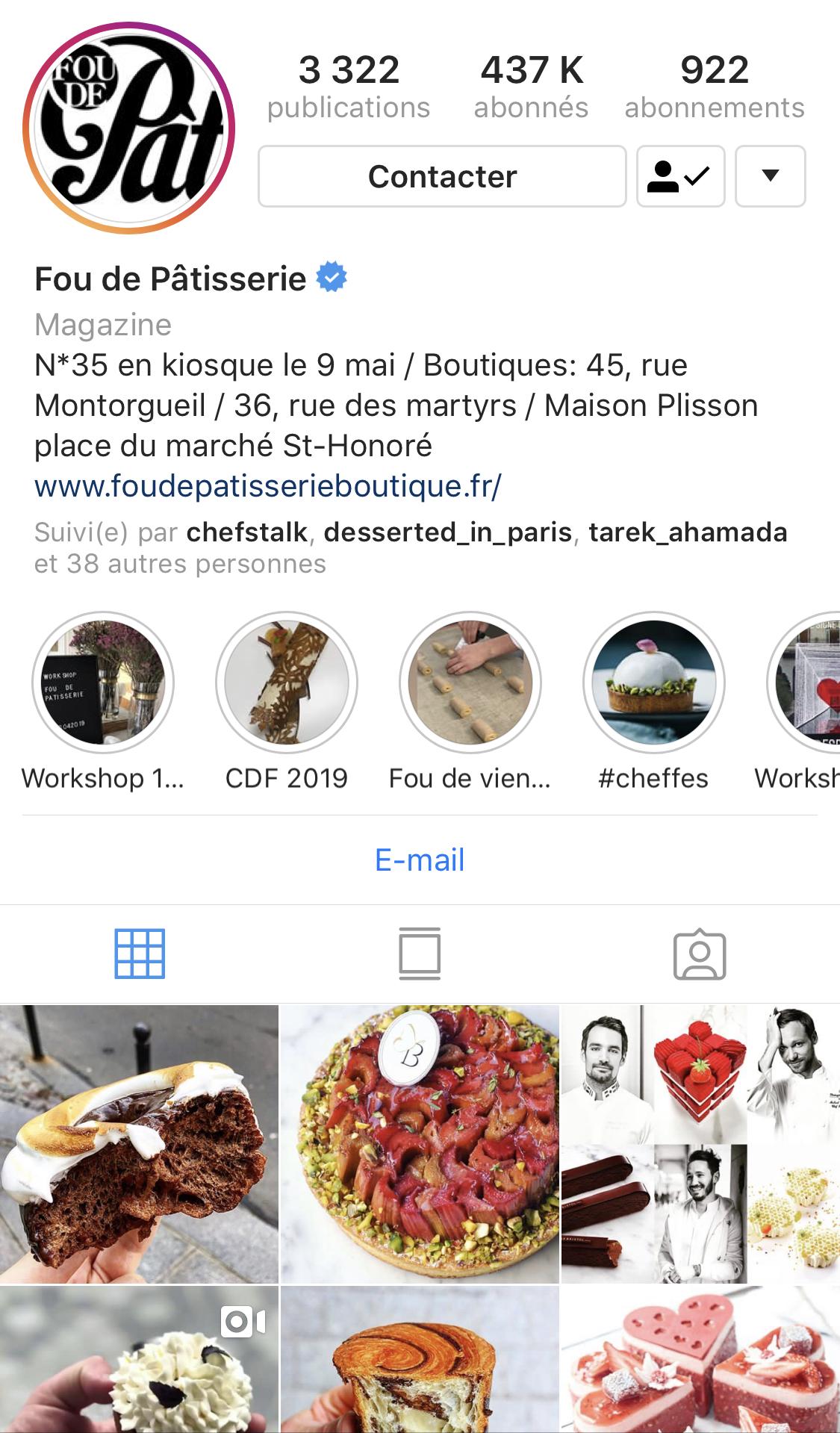 接近40萬人追蹤的 FDP Instagram 帳號,成功凝聚網路上的甜點愛好者、建立了非常活躍的社群。(圖片來源:Instagram| Fou de Pâtisserie  )