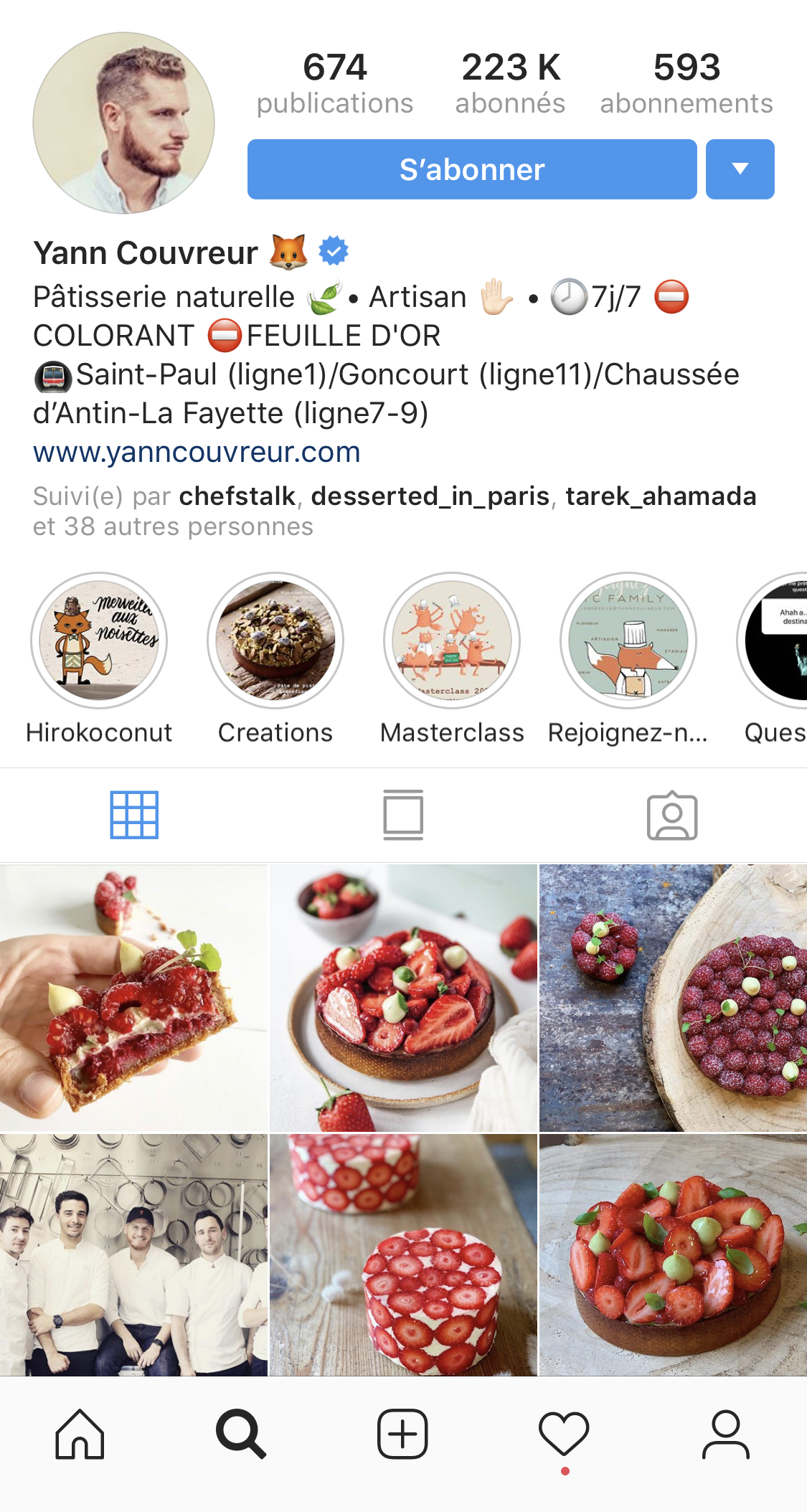 在 Instagram 上面擁有超過 22 萬追蹤人數的 Yann Couvreur 主廚。(圖片來源:Instagram| @yanncouvreur )