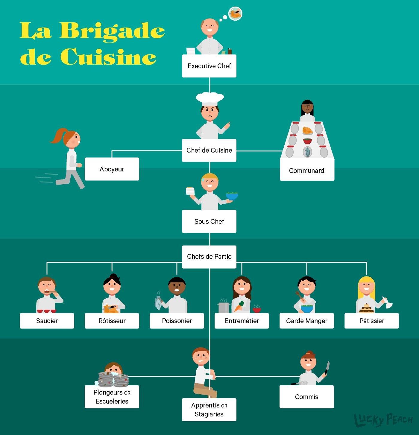 「La brigade de cuisine」廚房體制圖。本圖中在「chef de cuisine」(廚房主廚)之上還有一個「Executive Chef」(行政主廚,法文為「chef exécutif」),將廚房的日常營運與管理工作職責分開,是假設在極大的集團中出現的情形。此時行政主廚可能會需要管理好幾個廚房、而每個廚房都有一個實際領導日常事務的主廚。  一般在高級飯店中,較常見的情形會是由「sous-chef」(副主廚)擔任圖中「chef de cuisine」(廚房主廚)的工作,而「chef cuisinier」(主廚)負責圖中「Executive Chef」(行政主廚)的職責。  (圖片來源:Carolyn Bahar for Lucky Peach)