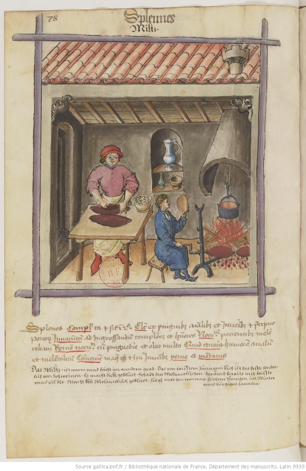 法國國家圖書館  BnF  珍藏的 15 世紀手抄本《 Tacuinum Sanitatis 》(《 健康全書 》, Ibn Butlan )中關於「apprenti pâtissier」(糕點學徒)的插畫。圖中右手邊坐在柴火旁的便是一個年輕的糕點學徒,他正在店後方的廚房裡煮著禽類的肫,準備當成餡餅(pâté)的內餡。(圖片來源: gallica.bnf.fr  / Bibliothèque nationale de France)
