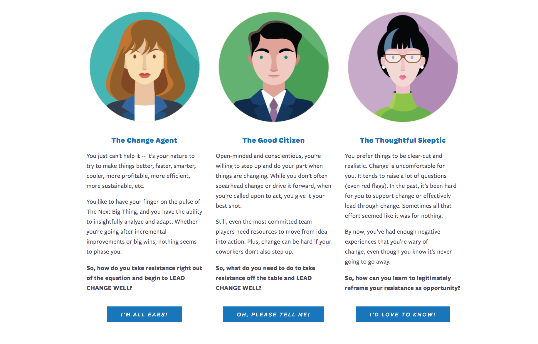 A web page excerpt designed to test users' buyer archetypes and cultural conditions