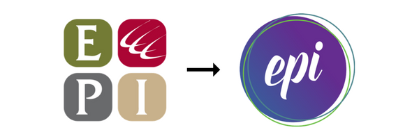 The EPI logo, before and after
