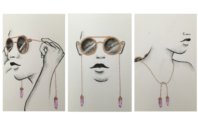 "STEP 1. FRAMES TO FACE   STEP 2. THE FRAMES TEND TO REST HIGHER ON THE NOSE BRIDGE THAN TRADITIONAL SUNGLASSES. MAKE SURE THE CHAIN IS NICE AND SNUG BEHIND THE EARS   STEP 3. THE FRAMES GO BEHIND THE NECK AND THE CHAIN IS TIED TOGETHER IN FRONT TO CREATE A ""NECKLACE"" WHEN THE SUN SETS."