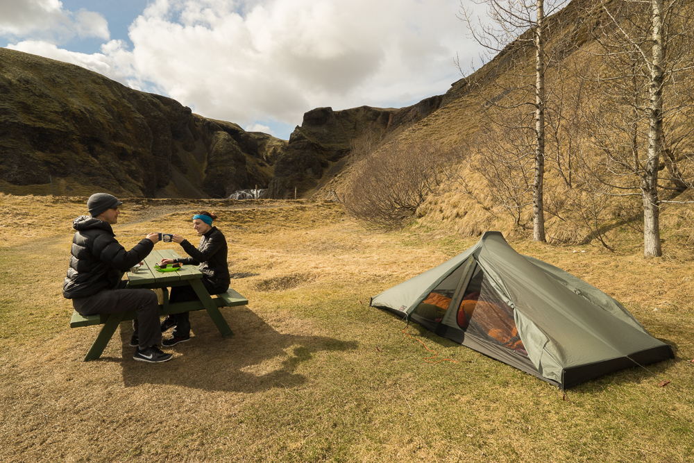 Camping at Kirkjubaejarklaustur: We had it all to ourselves.
