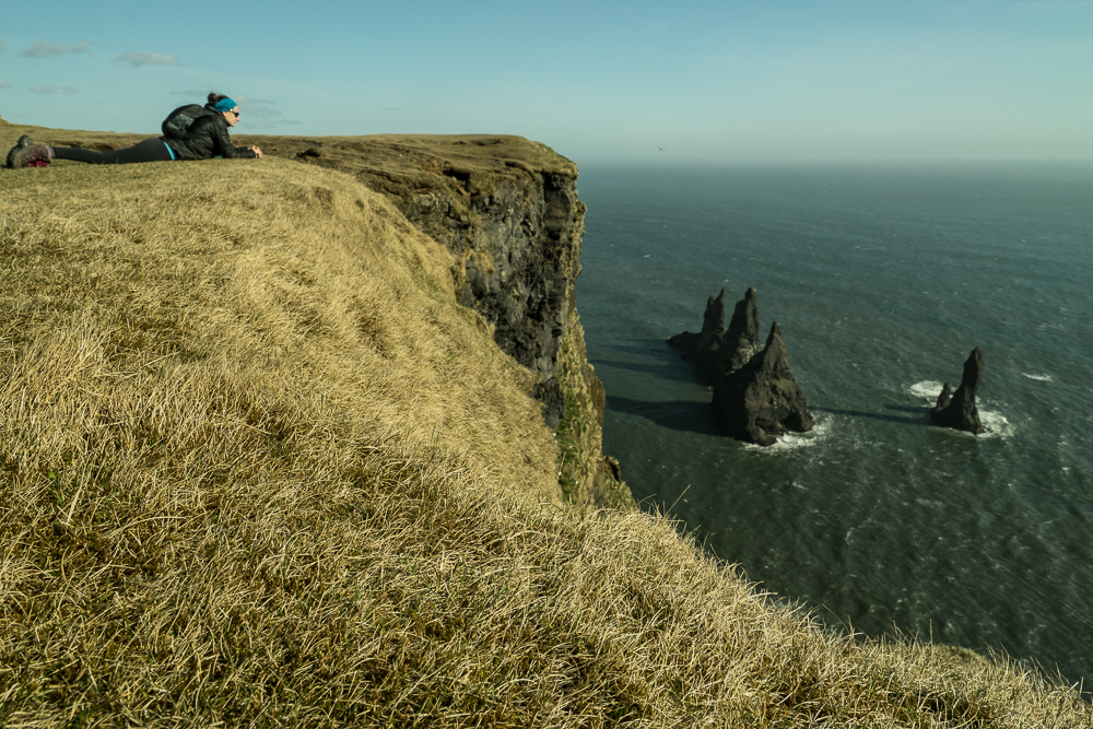 Top of the Cliffs at Reynisdrangar overlooking the sea stacks