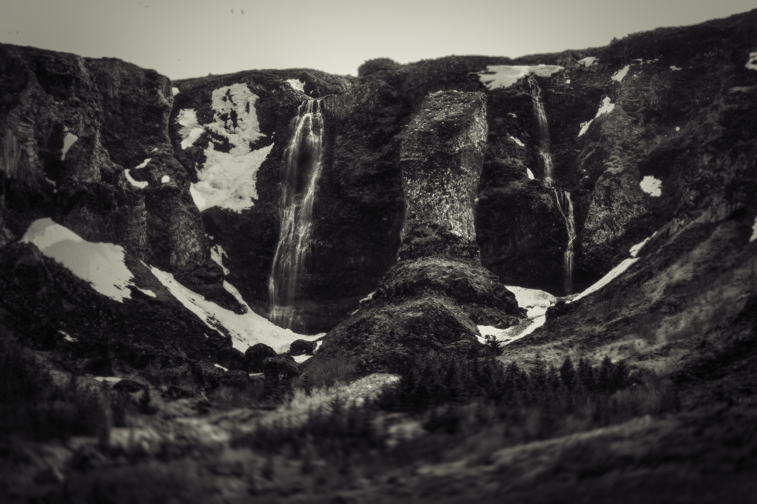 Waterfall on the cliffs of Grundarfjordur Iceland