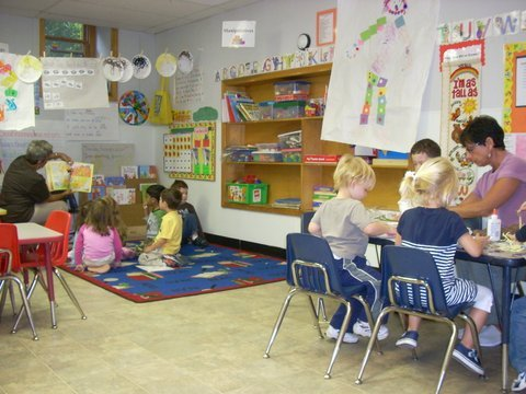 Each classroom is aranged to accomodate small group instruction