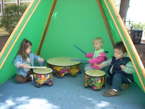 Drum play in the music garden.