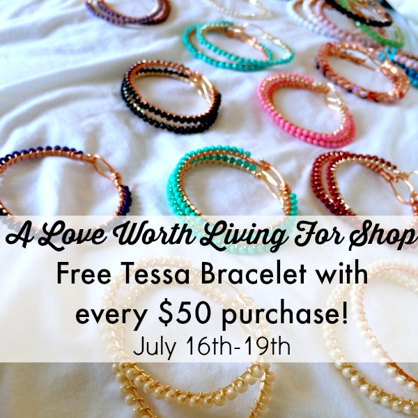 This is our best sale yet! Celebrate summer and vacations and treat yourself today! June 16-19! Get %15 off PLUS get a free Tessa Bracelet with every $50 purchase!! The Summer Vacay Sale! by A Love Worth Living For