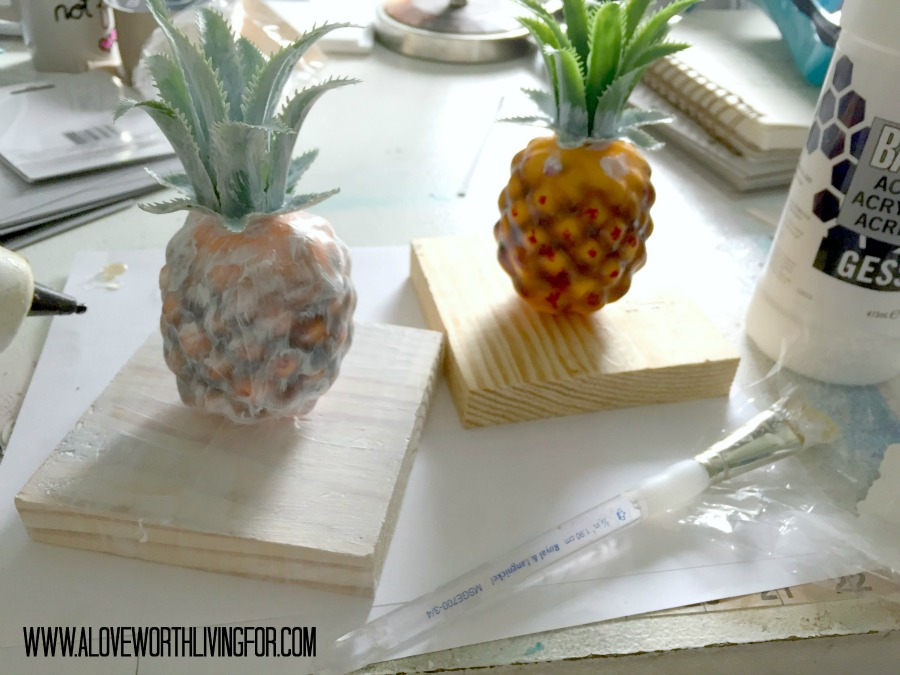 DIY Metallic Bookcase Decor - Golden Pineapples by A Love Worth Living For 011.jpg