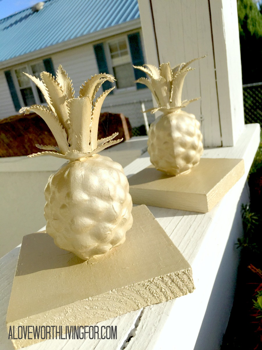 DIY Metallic Bookcase Decor - Golden Pineapples by A Love Worth Living For 006.jpg