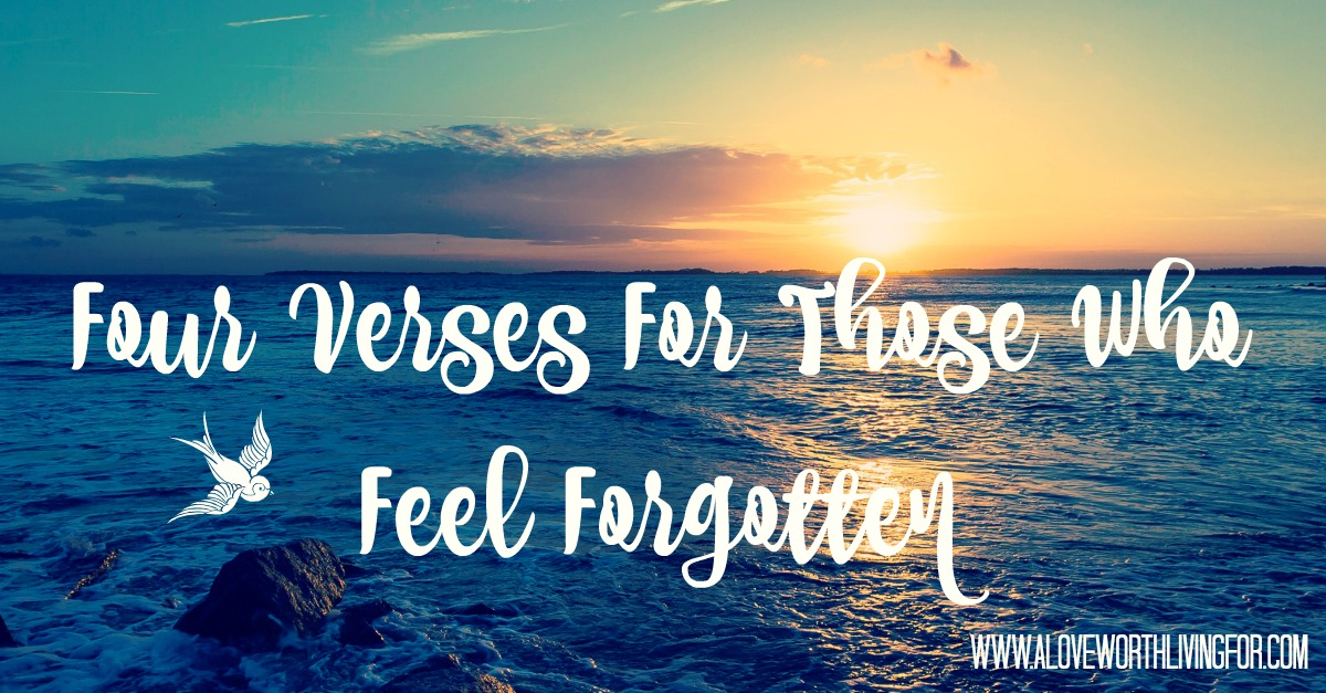 What does the Bible say about feeling forgotten? What does scripture say to those who feel like an after thought? Here 4 power verses that will encourage the lonely and forgotten.