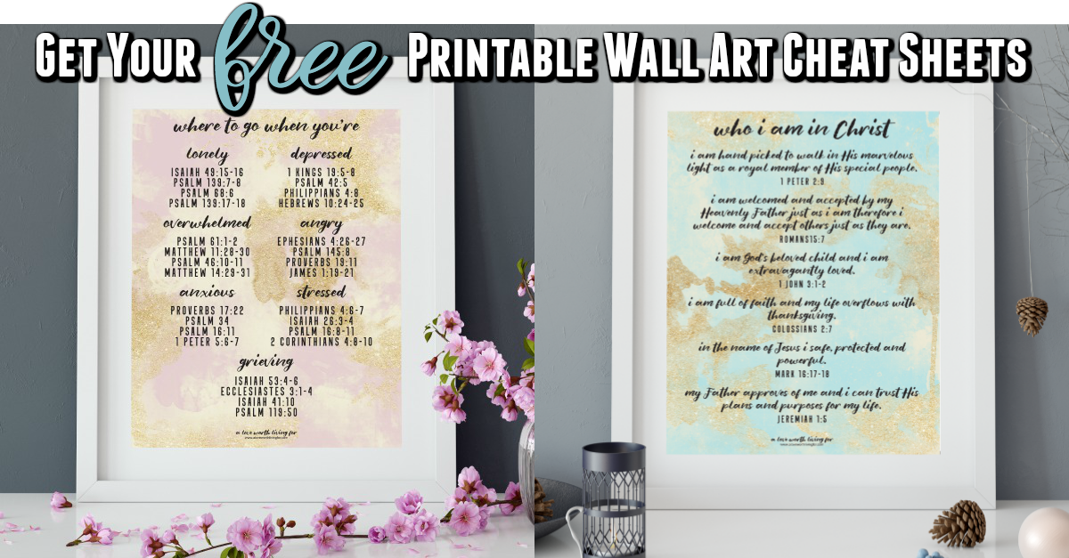 A wall art print that is so much more than just pretty on the eyes! These prints were designed to be both gorgeous and to act a a cheat sheet for times when you need to to know where to turn for hope and encouragement. Get yours for free here.