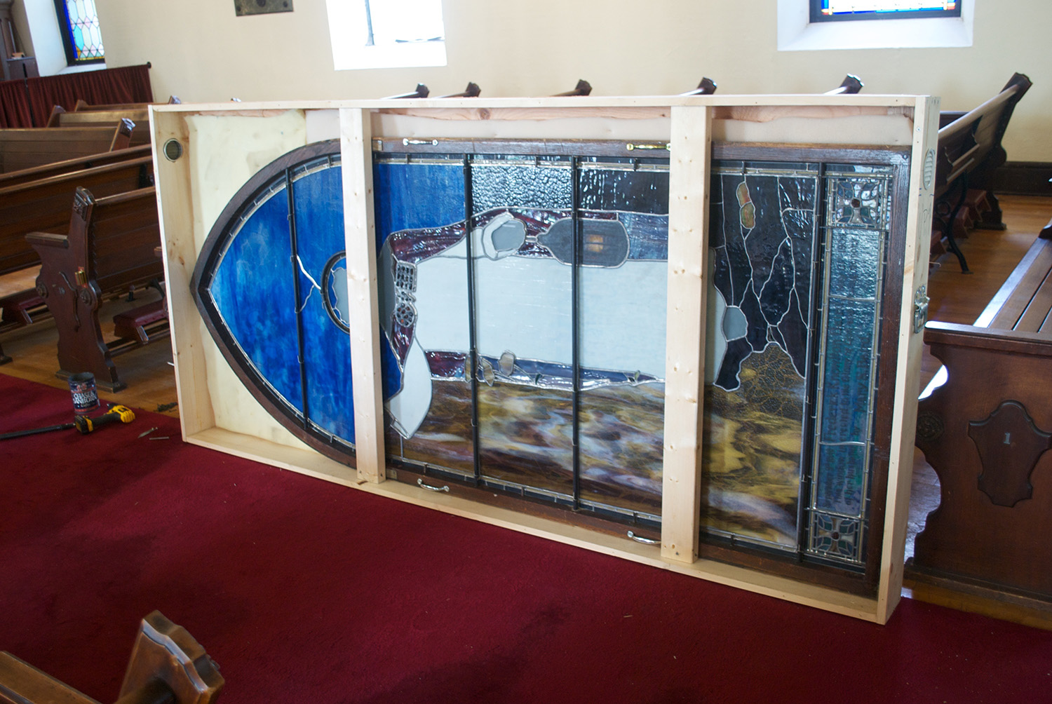 LC Tiffany Window, removal & crating for storage