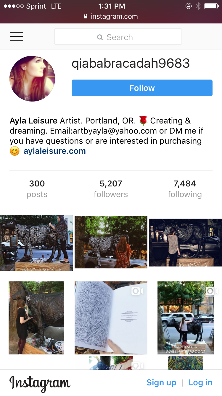 Follow the new official instagram for Ayla Leisure's art: @artbyayla
