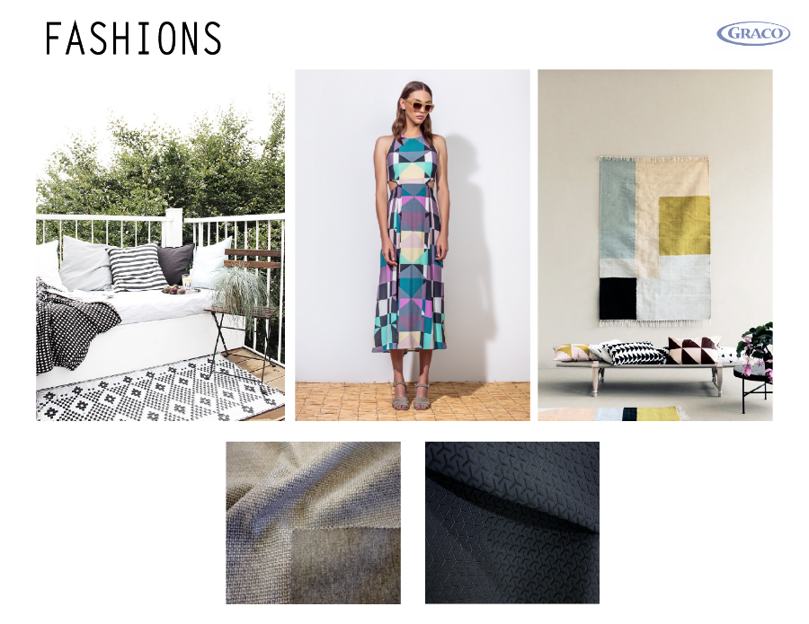 Inspiration came from home, recent runway, and trending textures for fabric newness. Fabrics such as bonded knits, textured neoprenes, and technical knits that match home & car interiors are popular for design conscious moms.