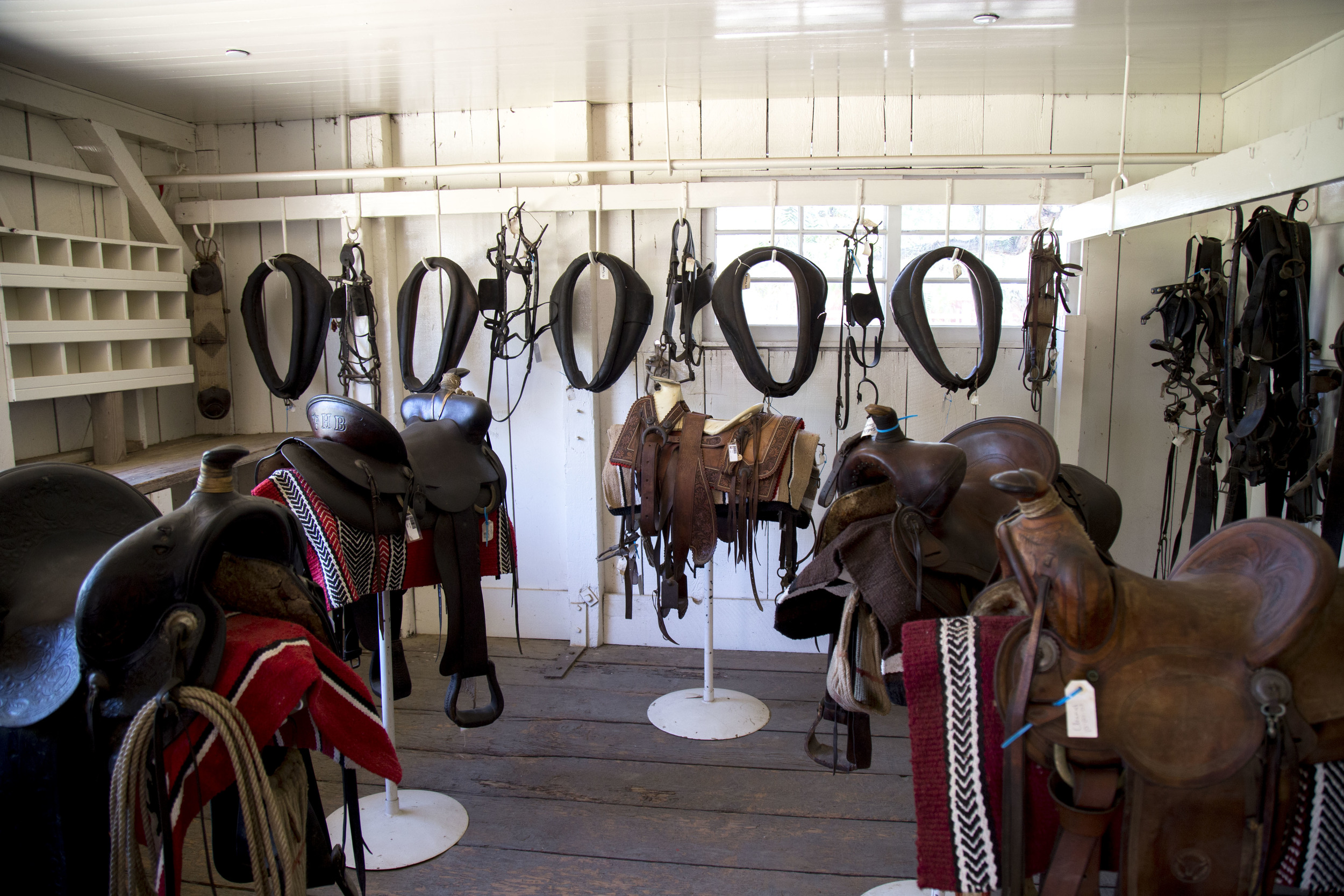 A portion of the original tack used on the Rancho is on view in the barn