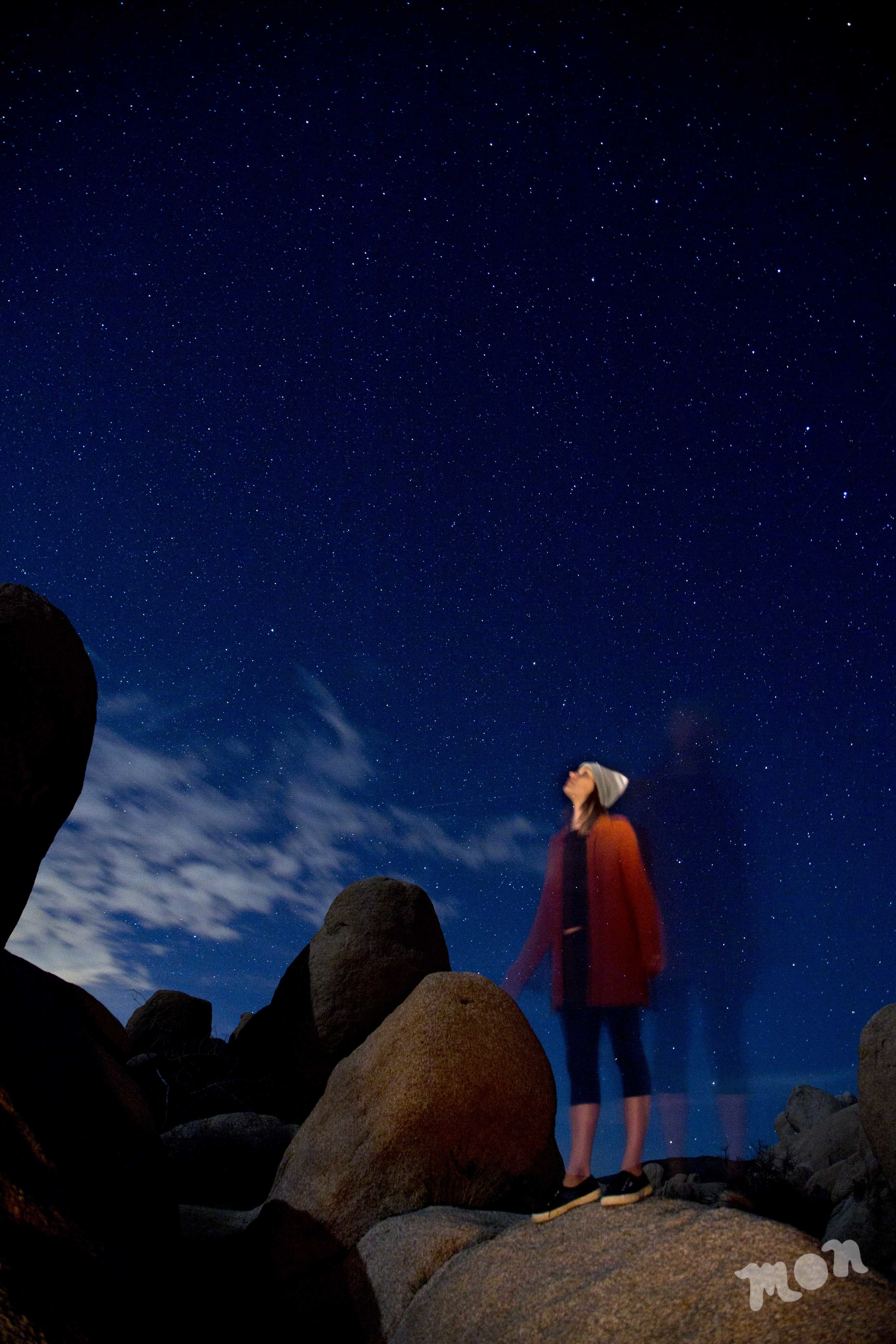 Abby stargazing at White Tank Campground in Joshua Tree