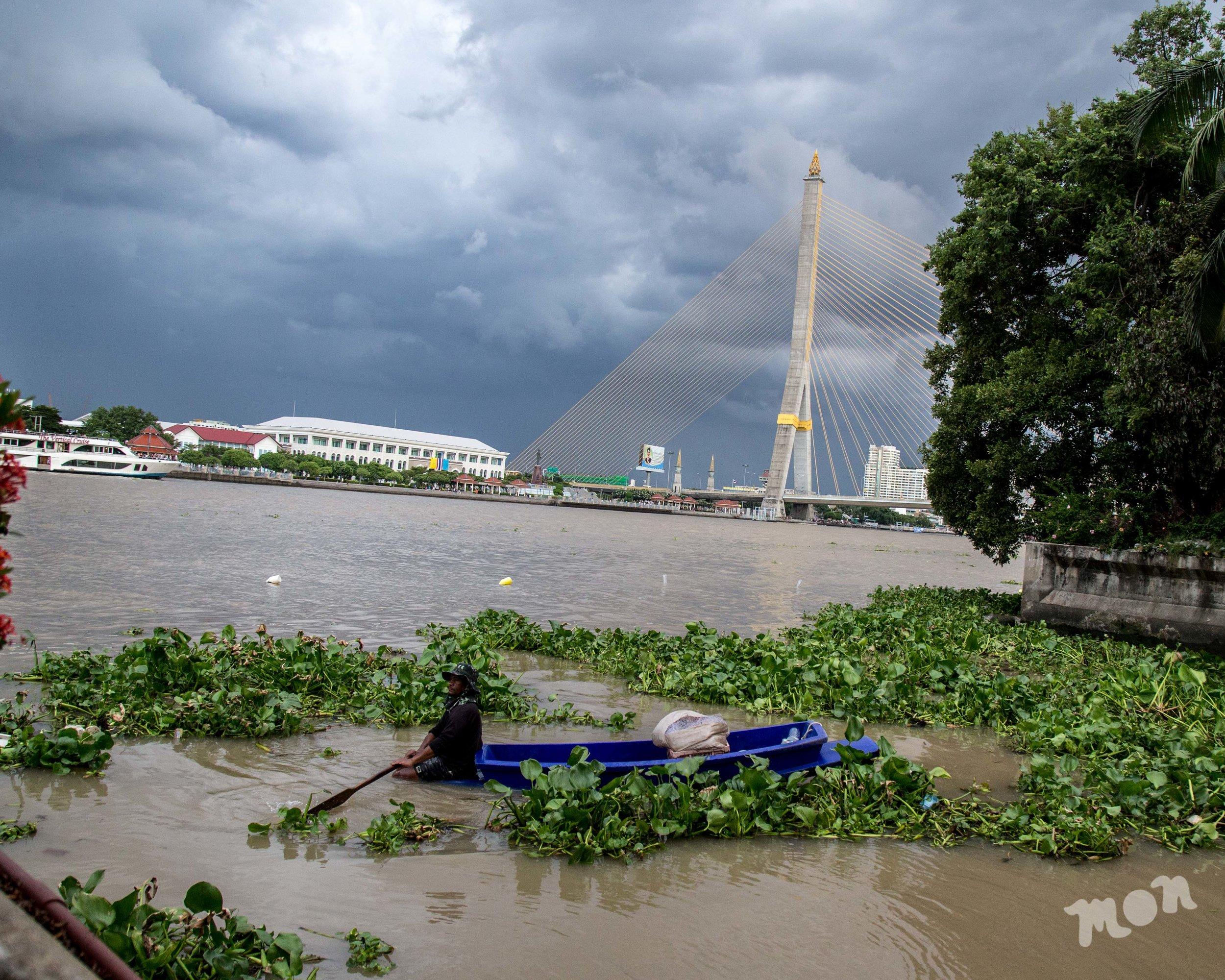 Local Man Fishing by the Rama 8 Bridge