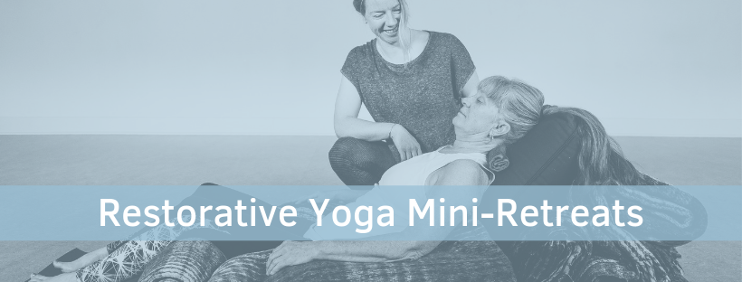 Winter Renewal :: Restorative Yoga Mini-Retreats    4 Sundays of Self-Care - Early-bird discount is now available.   Register here.      Tap into the deep  regenerative  peace of winter with intentional relaxation. Gentle movement, breath-work, & longer held restorative poses. Each Mini-Retreat will be unique and filled with special treats to engage all the senses.  Can be taken as a series or as individual classes.   $160 early bird special for entire series  $45 early-bird special per class  $55 per class if you register the week before or at door  -Nov 17 – 2-4pm with Yoga Nidra (early-bird for series and Nov class ends 11/10)  -Dec 15 – 2-4pm – with Essential Oils (early-bird ends 12/8)  -Jan 19 – 2-4pm with Gong Bath (early-bird ends 1/12)  -Feb 16 – 2-4pm with Hot Stones (early bird ends 2/9)  Please wear comfortable clothes and bring extra layers for longer held restorative poses.