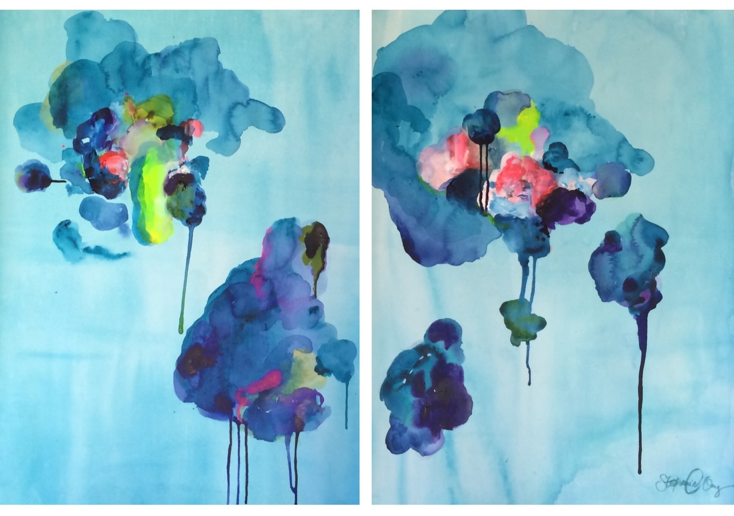 "Untitled 22"" x 30"" each (diptych) acrylic on watercolor paper SOLD"