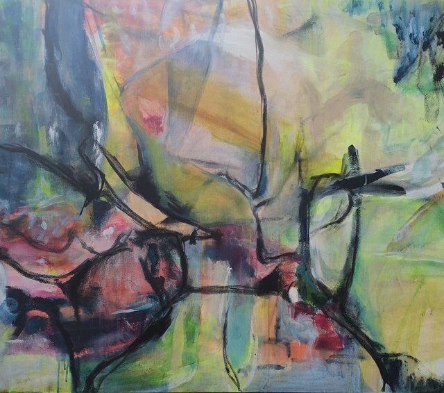 """Valley 48"""" x 36"""" acrylic, charcoal on canvas AVAILABLE"""