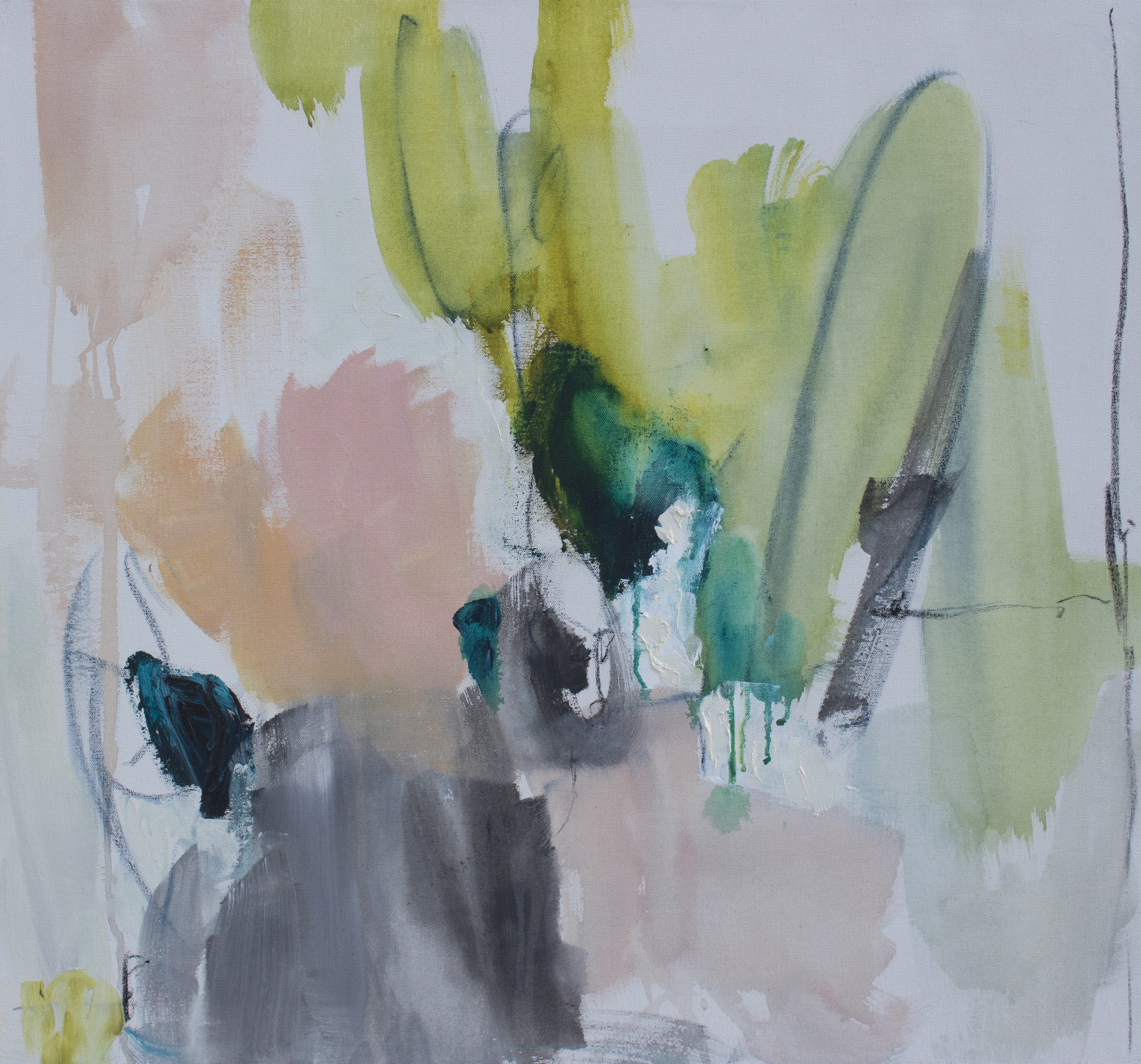Considering 27 in. x 29 in. acrylic, charcoal on canvas   sold