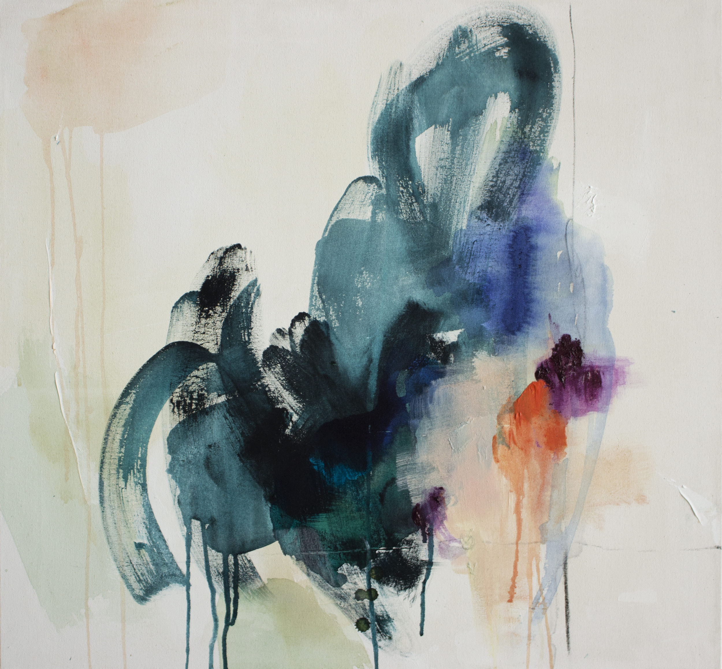 Tandem 27 in. x 29 in. acrylic, charcoal on canvas