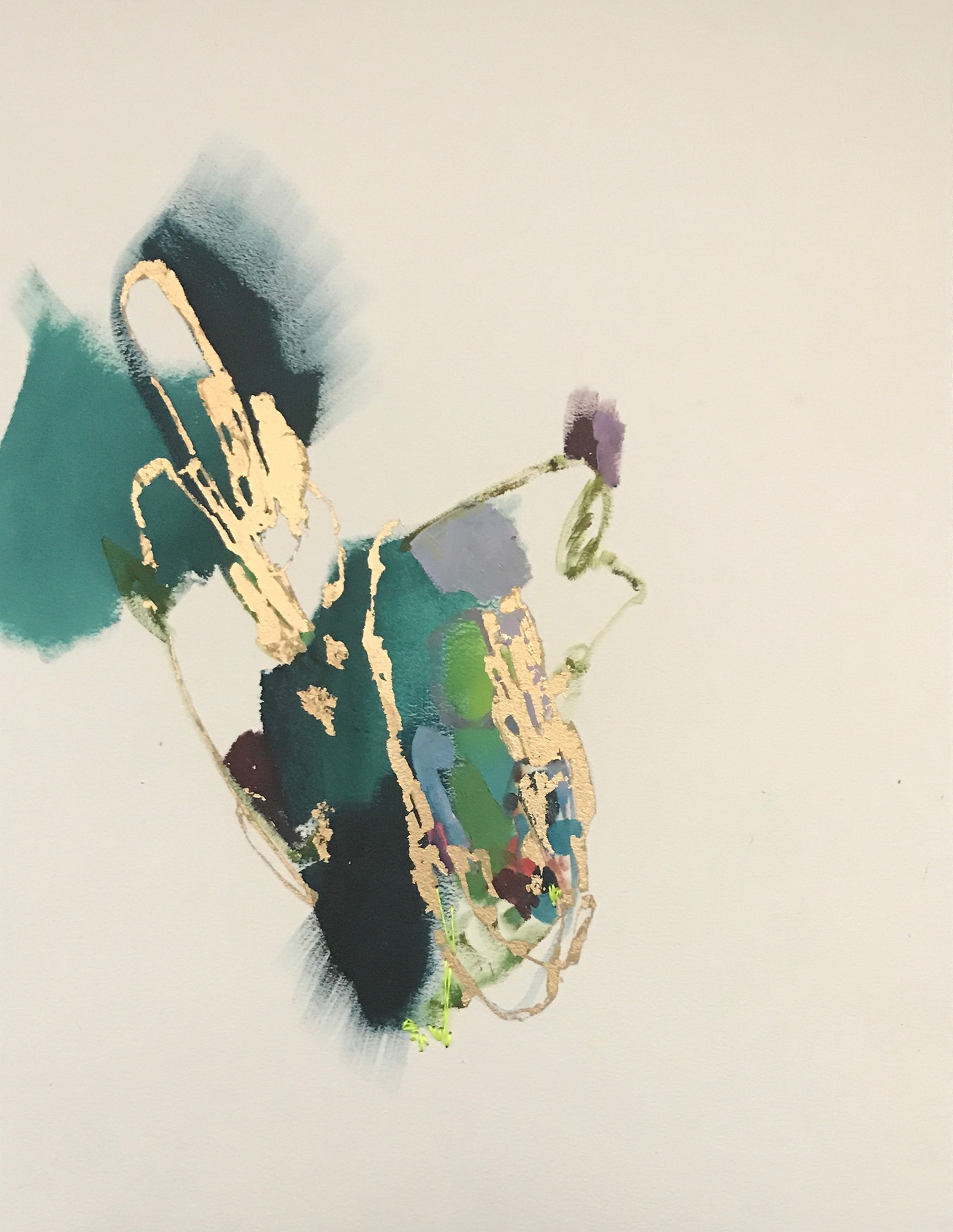 TUMBLING WAVE #4    12 in. x 16 in.    oil, stitching, gold leaf on paper     SOLD