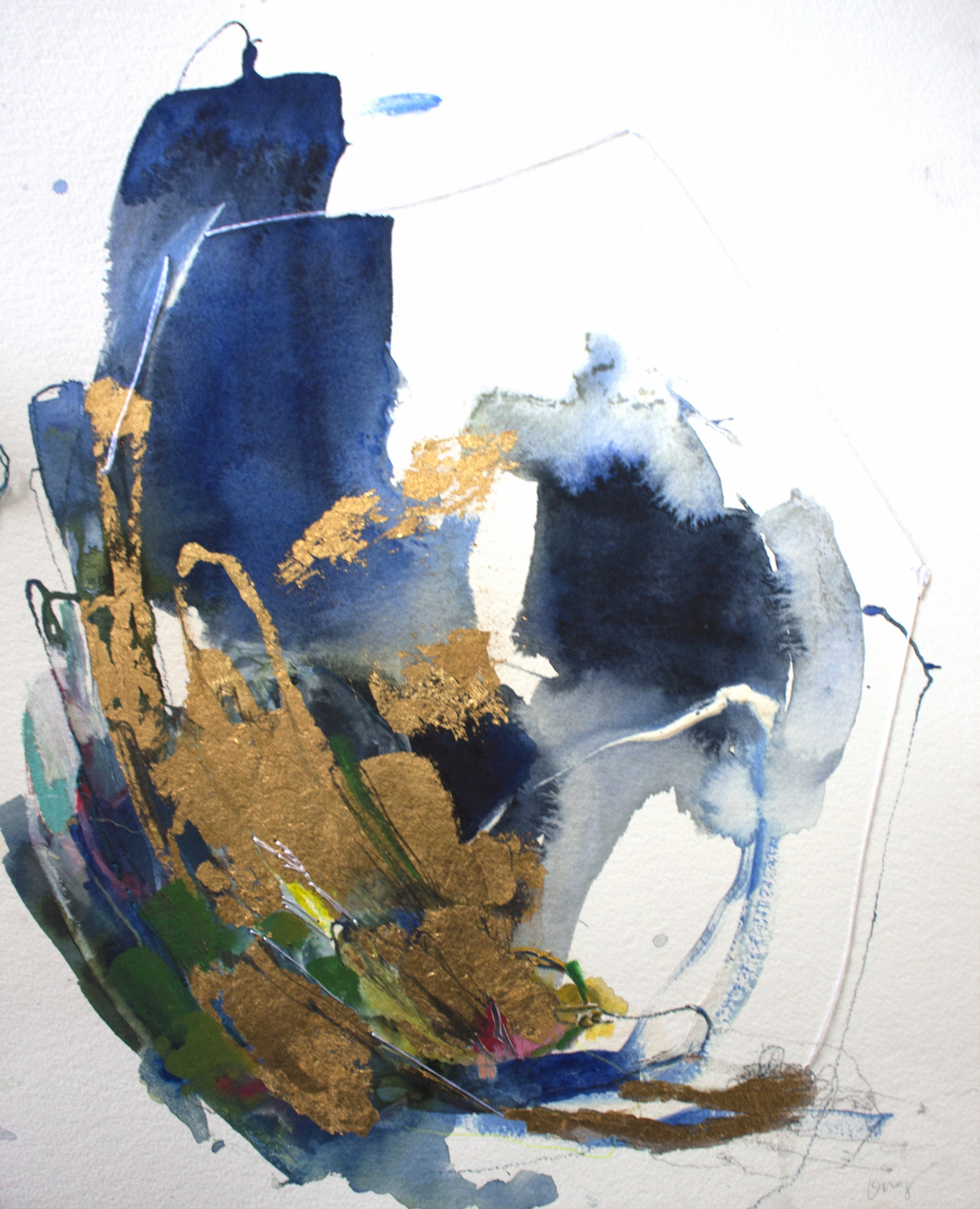 TUMBLING WAVE #6 12 in. x 16 in. acrylic, pencil, stitching, gold leaf on paper