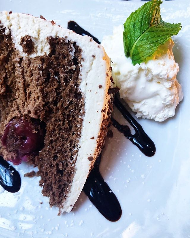 Our Black Forest cake doesn't get enough credit. Each cake is made from scratch and features a generous drizzle of kirschwasser (cherry liquor) for added flavor. Cheers to dessert! 🍒 #germanfood  #blackforestcake  #lecker