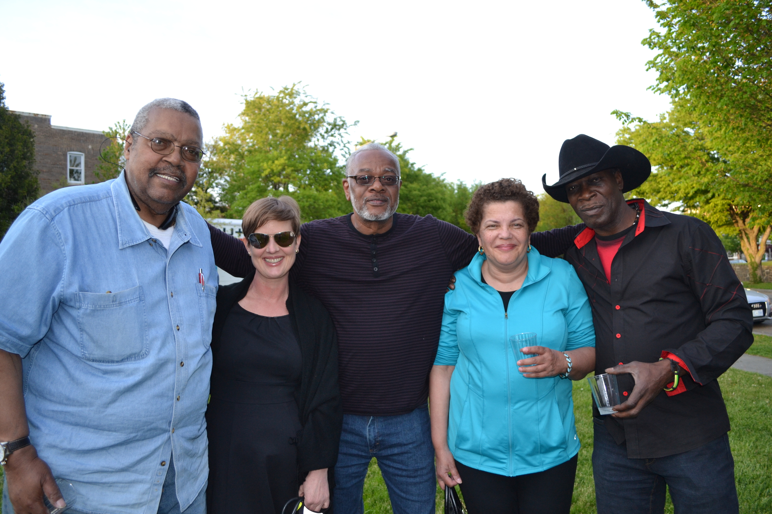 """Woodie Head, Kirsten Spainhower, Lee Magruder, Karen Shaw and Ron Ceasar. """"We're here because we heard about it from our neighbor, and we wanted to meet our neighbors."""""""