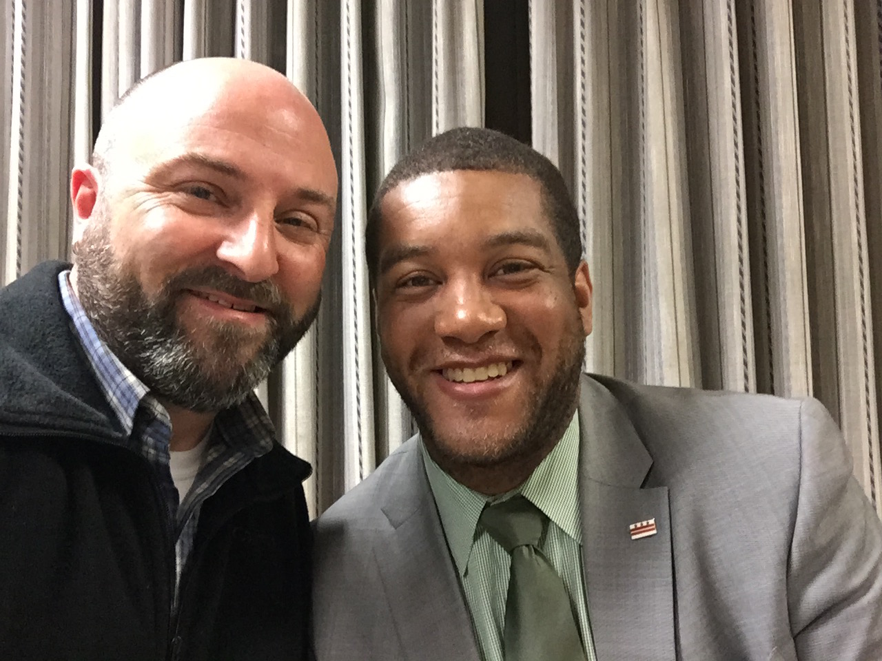 Ward 4 Liaison Khalil Thompson poses for a selfie with Drew.