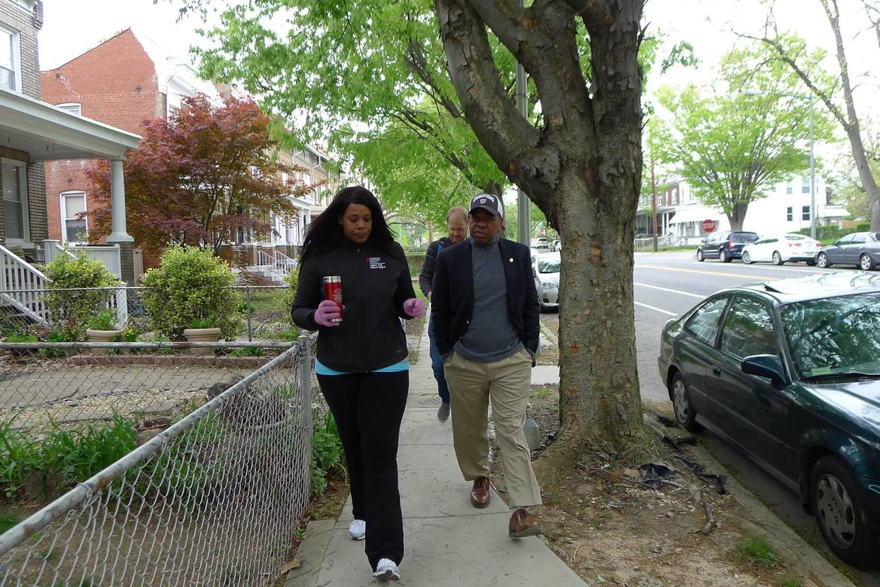 Pam Lloyd walks with Councilmember Vincent Orange. (Martin Austermuhle is in the back.)Photo: Joe Martin.