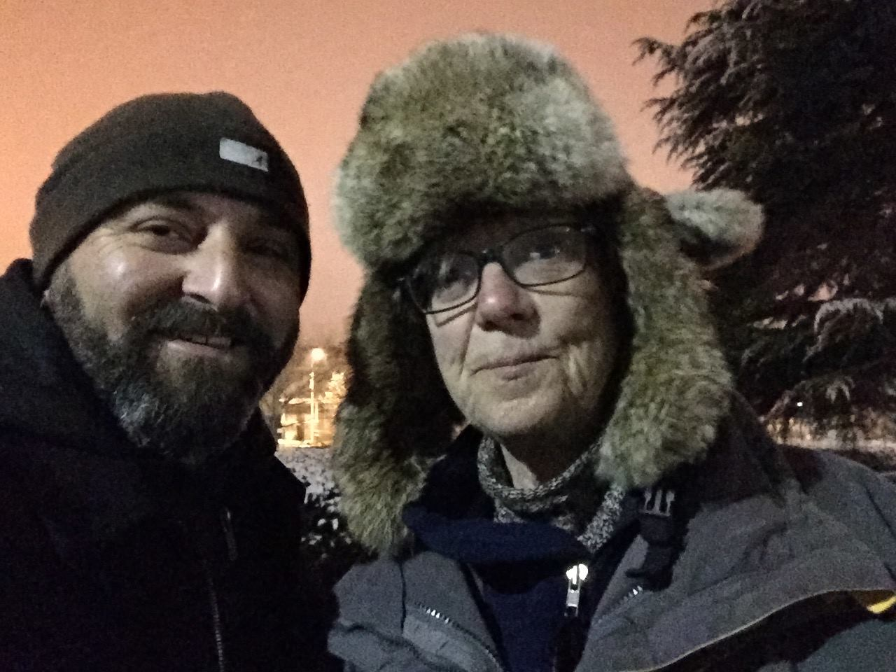 Carol Herwig poses for an obligatory selfie with Drew. (Carol is one of my favorite neighbors to pull into selfie photos -- check out that hat!)  January 21, 2015