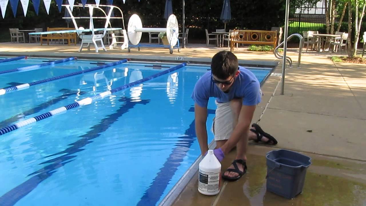 An example of muriatic (hydrochloric) acid used at a pool