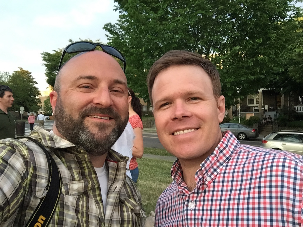 Russ Breckenridge poses for a selfie with Drew at the Southwest Petworth Lemonade Social.    May 27, 2015