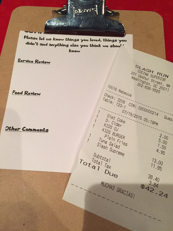 And the final bill... not bad for three with beverages in DC. We certainly weren't hungry when we left.