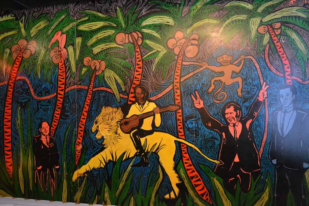The famous Marion Barry on a Lion mural from Chief Ike's Mambo Room lives on in Petworth.