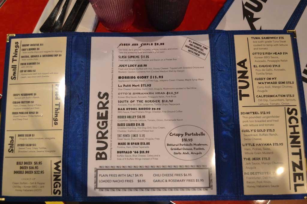 Full menu (more on the back)
