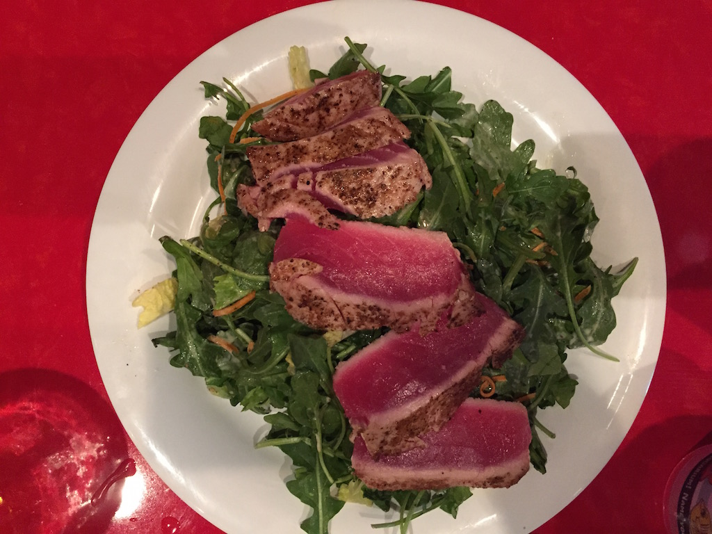 My wife's tuna salad, cooked rare.