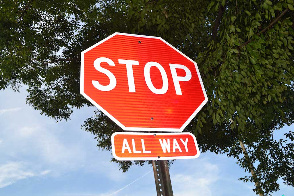 One of the new all-way stop signs at Quincy & Kansas