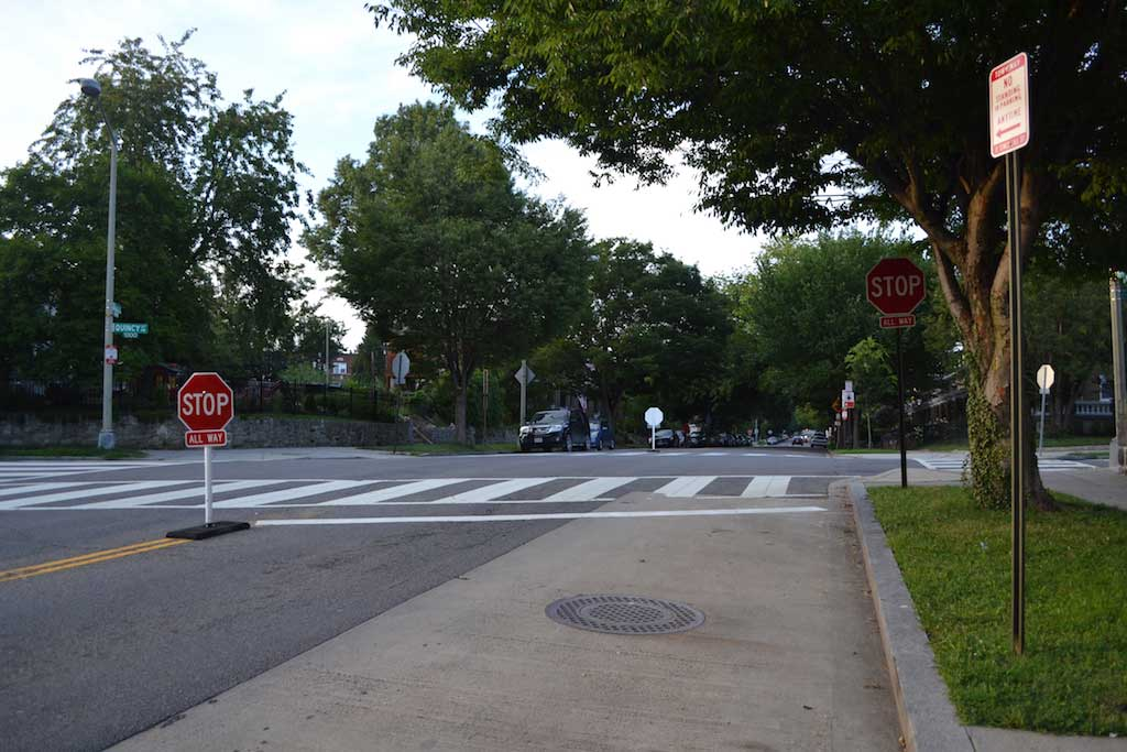 "DDOT replaced the ""stop for pedestrians in crosswalks"" sign with a new all-way stop sign at Quincy & Kansas."