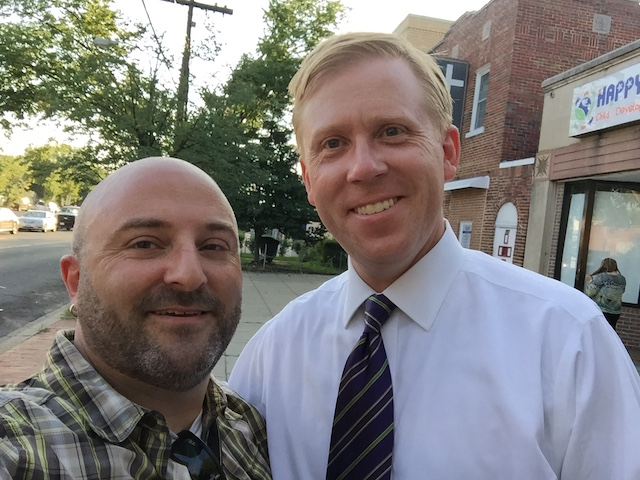 DDOT Director Leif Dormsjo poses for a selfie with Drew along Kennedy Street